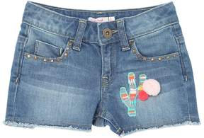 Billieblush Stretch Denim Shorts With Pompom Details