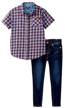 7 For All Mankind Woven Short Sleeve Tee & Jean 2-Piece Set (Toddler Boys)