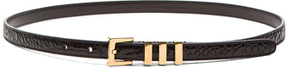 Saint Laurent Croc Embossed Trois Passants Belt in Black,Animal Print.