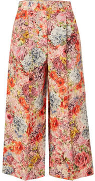 Valentino Floral-print Wool And Silk-blend Crepe Culottes - Pink