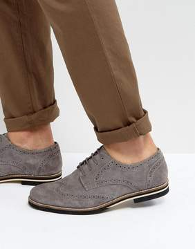 Dune Brogues In Gray Suede