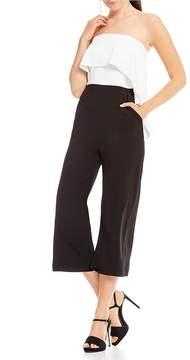 Donna Morgan Ruffle Strapless Jumpsuit