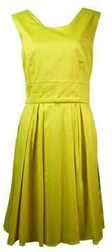 Calvin Klein Women's V-Back Cotton Blend Belted A-Line Dress (10, Daisy)