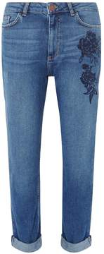 Dorothy Perkins Midwash Floral Embroidered Mom Jeans