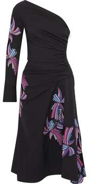 Emilio Pucci One-Shoulder Appliquéd Cotton-Blend Poplin Dress