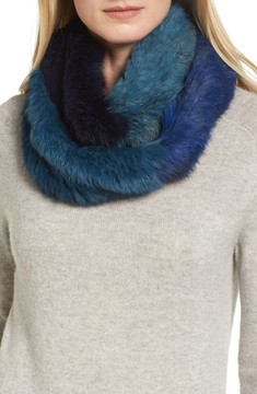 Jocelyn Women's Colorblock Genuine Rabbit Fur Infinity Scarf