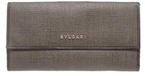 Bvlgari Grey Coated Canvas Leather Trim Continental Long Wallet.