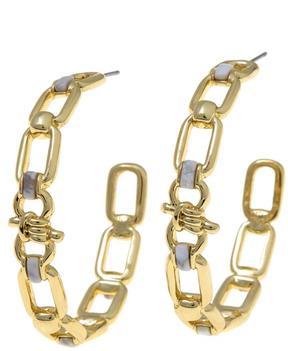 Danielle Nicole Newport Simulated Gem Link-Design Hoop Earrings