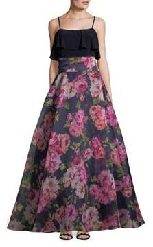 Eliza J Ruffled Floral Ball Gown