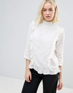 B.young Embroidered Blouse With Ruffle Panels