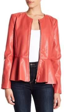 Bagatelle Faux Leather Peplum Jacket