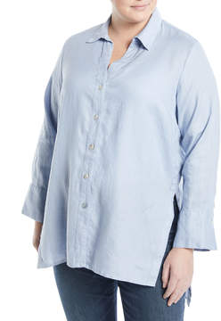Neiman Marcus Linen Button-Front Tunic, Plus Size