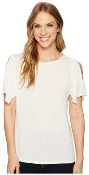 Ellen Tracy Slit Flutter Sleeve Top Women's Clothing