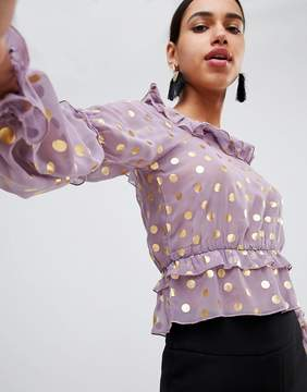 Fashion Union Prairie Top With Ruffles In Sheer Metallic Spot