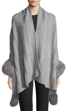 Sofia Cashmere Staghorn Chunky Knit Wrap w/ Fur Trim