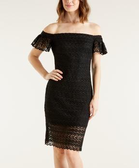 Bebe Black Lace Off-Shoulder Dress
