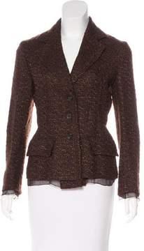 Prada Tweed Notch-Lapel Blazer