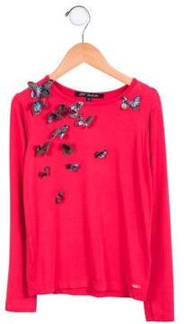 Lili Gaufrette Girls' Embellished Long Sleeve Top