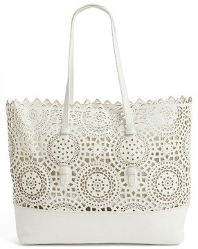 Shiraleah Helena Perforated Faux Leather Tote - White