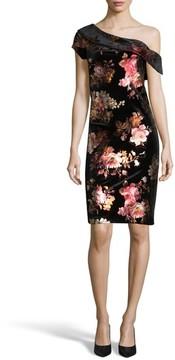 ECI Women's One-Shoulder Foil Sheath Dress