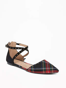 Old Navy Tartan Twill D'Orsay Flats for Women