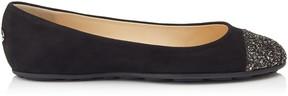 Jimmy Choo GAZE FLAT Black Suede Ballerina Flats with Bronze Mix Midnight Coarse Glitter Fabric Toe Cap