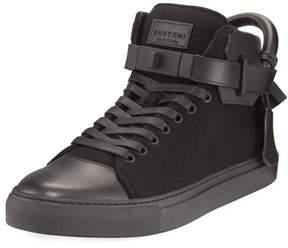 Buscemi Men's 100mm Wool Mid-Top Sneakers, Black