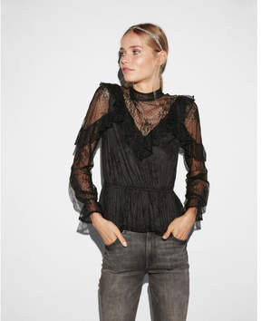 Express lace ruffle peplum top