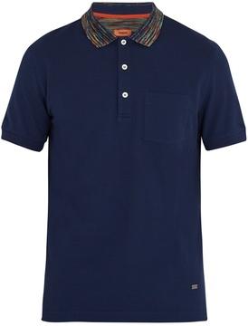 Missoni Striped-collar cotton polo shirt