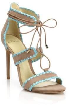 Alexandre Birman Bel Raffia-Trim Suede Lace-Up Sandals