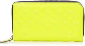 Jimmy Choo CARNABY Acid Neon Patent Leather Travel Wallet with Embossed Stars