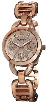 Akribos XXIV Multi-Function Rose Dial Rose Gold-tone Ladies Watch