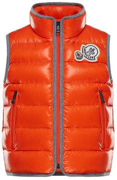 Moncler Bramont Contrast-Trim Quilted Vest, Size 8-14