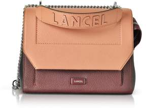Lancel Ninon Round Cassis Black And Blush Leather Medium Flap Bag