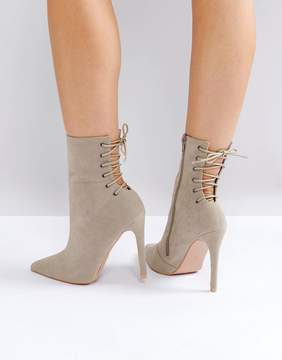 Public Desire Kilburn Gray Lace Up Heeled Ankle Boots