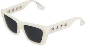 McQ Eyelet Angular Cat-Eye Plastic Sunglasses, Ivory