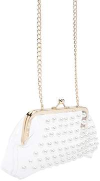Forever 21 Translucent Faux Pearl Frame Clutch
