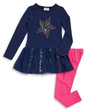 Flapdoodles Little Girl's Two-Piece Rainbow Sequin Star Dress and Pants Set