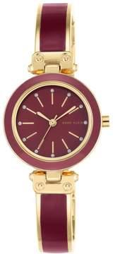 Anne Klein Crystal-Accented Goldtone Burgundy Enamel Semi-Bangle Bracelet Watch