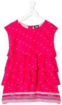 Emporio Armani Kids logo print ruffle dress