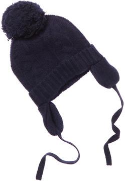 Baby CZ Kid's Navy Cashmere Pom Pom Hat