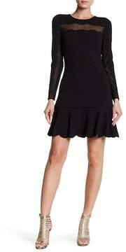 Bebe Scallop Mesh Long Sleeve Dress