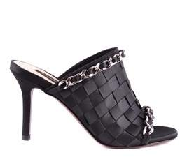 Pinko Women's Black Leather Sandals.
