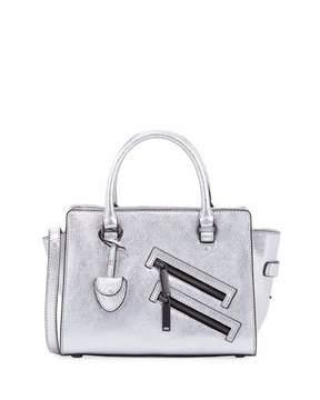 Rebecca Minkoff Jamie Small Metallic Satchel Bag, Silver - SILVER - STYLE
