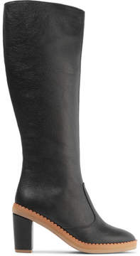 See by Chloe Scalloped Textured-leather Knee Boots - Black