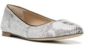 Diane von Furstenberg Cambridge Metallic Python-Embossed Leather Flats