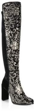 Stuart Weitzman Alljil Tall Sequin-Embroidered Velvet Boots