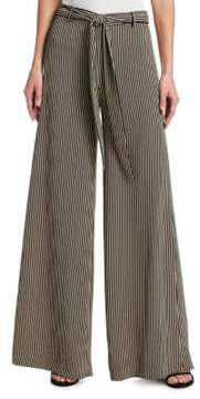 Halston Striped Wide-Leg Pants