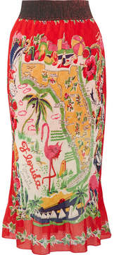 Anna Sui Florida Plissé Printed Silk Midi Skirt - Red