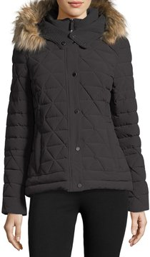 Andrew Marc Tess 4-Way Stretch Jacket w/ Faux-Fur Hood